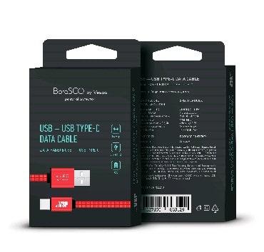 Дата-кабель USB - Type-C, 3А, 1м, в нейлоновой оплетке красный, BoraSCO (VSP) фото