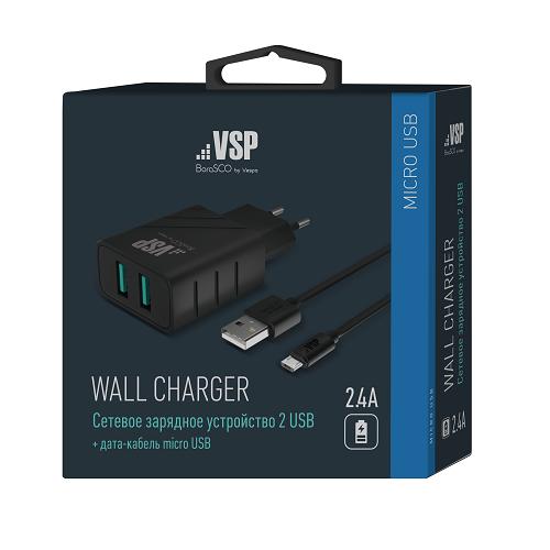 СЗУ Vespa 2 USB 2,4A + Дата-кабель micro USB, 1м (Черный) фото