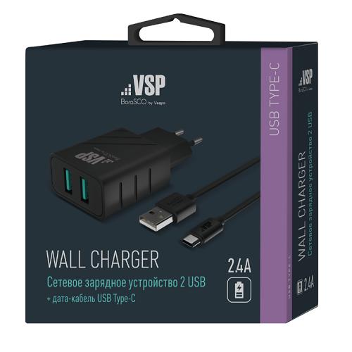 СЗУ Vespa 2 USB 2,4A + Дата-кабель Type-C,1м (Черный) фото