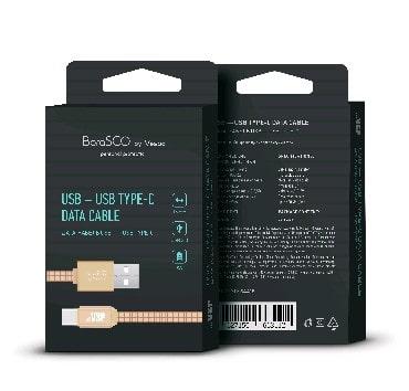 Дата-кабель USB - Type-C, 3А, 1м, в нейлоновой оплетке золотой, BoraSCO (VSP) фото