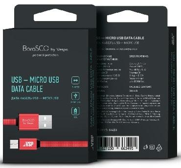 Дата-кабель USB - Micro USB, 3А, 1м, в нейлоновой оплетке красный, BoraSCO (VSP) фото
