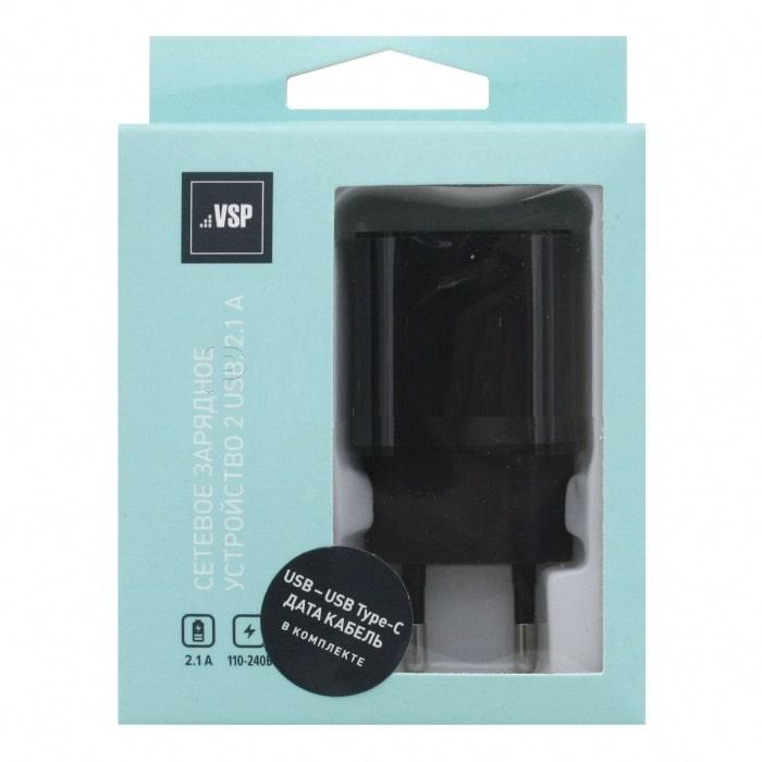СЗУ Vespa 2USB, 2,1A + кабель Type-C, 1м,2А (черный) фото