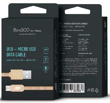 Дата-кабель USB - Micro USB, 3А, 1м, в нейлоновой оплетке золотой, BoraSCO (VSP) фото